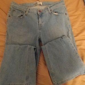 Light blue low rise boot cut jeans